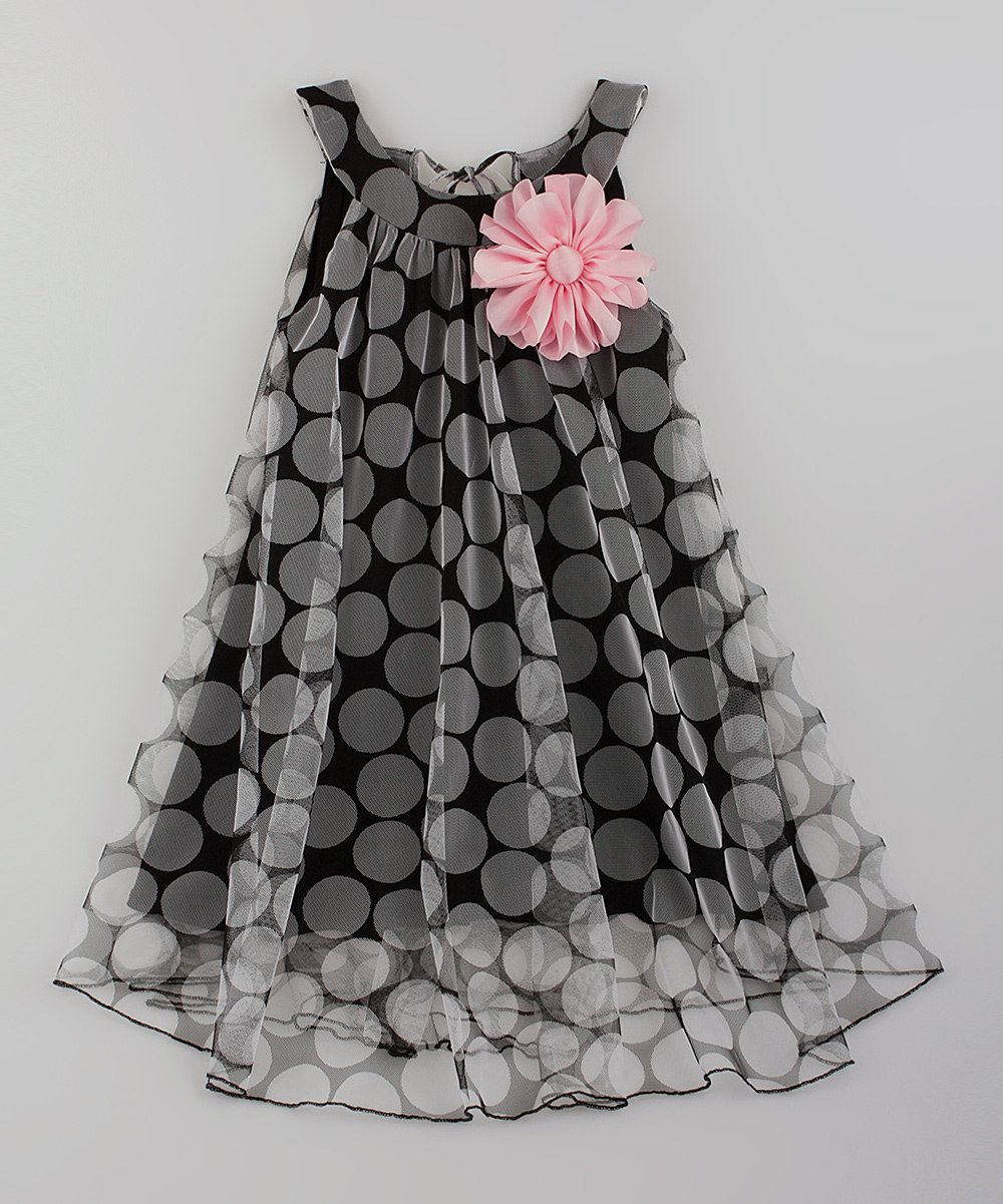 2dcaf8386 Look at this Mia Belle Baby Black   Pink Flower Swing Dress ...
