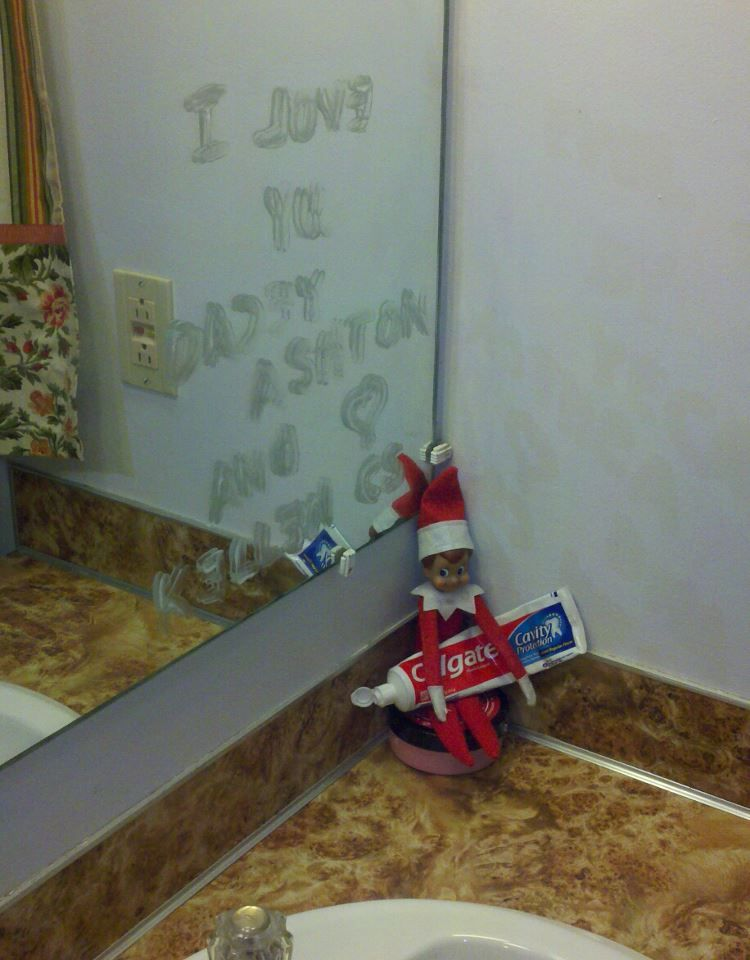 Elf on the shelf oscar pinterest elves shelves and for Elf on the shelf bathroom ideas