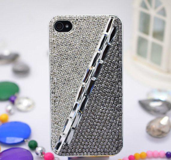 For Iphone 4s 5s Phone Case Bling Swarovski Chain Gem Sliver Crystal