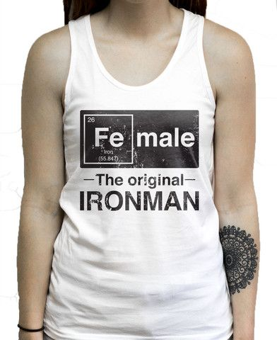 Female the original Iron Man  on a Unisex Tank Top