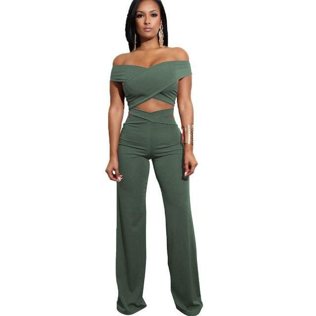 a0d5af1faaf 2018 Casual Women Summer autumn Crop Top And Pants two Piece set Sexy  Female Clothing Set Bandage off shoulder bodycon Jumpsuits