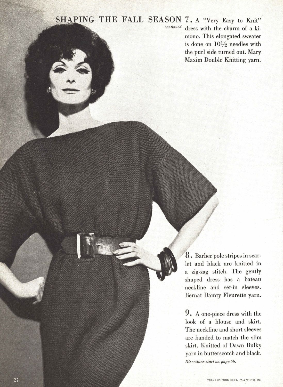 Karen Dress • 1960s Knitting Knit Sweaterdress Tunic Sweater Pattern ...