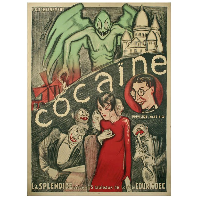 Cocaine a french art deco period theater poster by for Art deco period