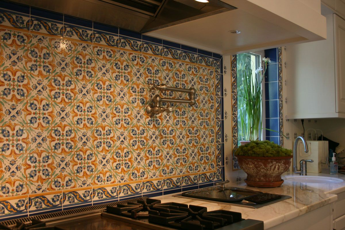 How gorgeous are these custom hand painted tiles they create how gorgeous are these custom hand painted tiles they create such a unique backsplash doublecrazyfo Image collections