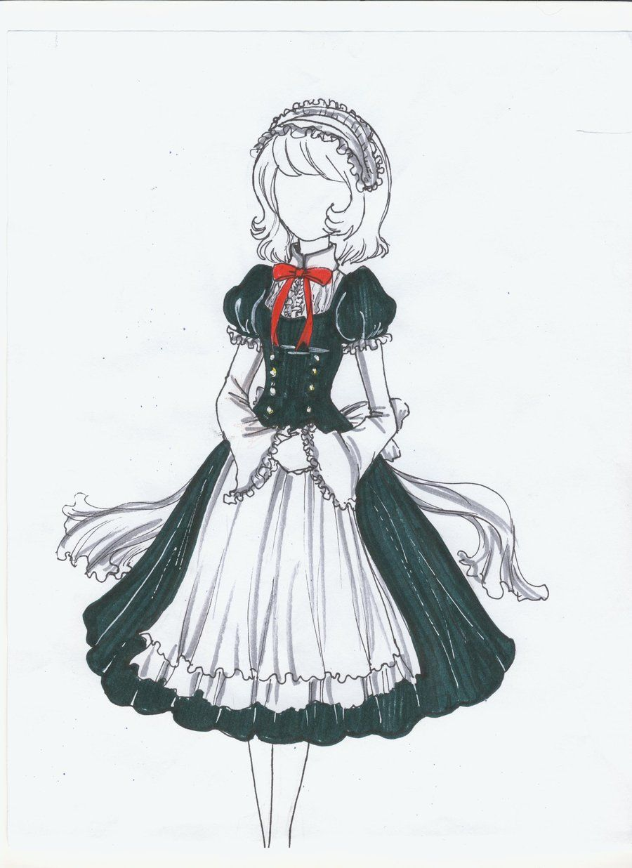 Maid Outfit Anime Girl Drawings