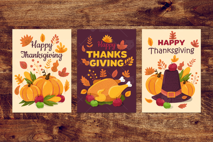 Happy Thanksgiving Day Banners Set 380919 Illustrations Design Bundles Happy Thanksgiving Day Thanksgiving Banner Thanksgiving Day