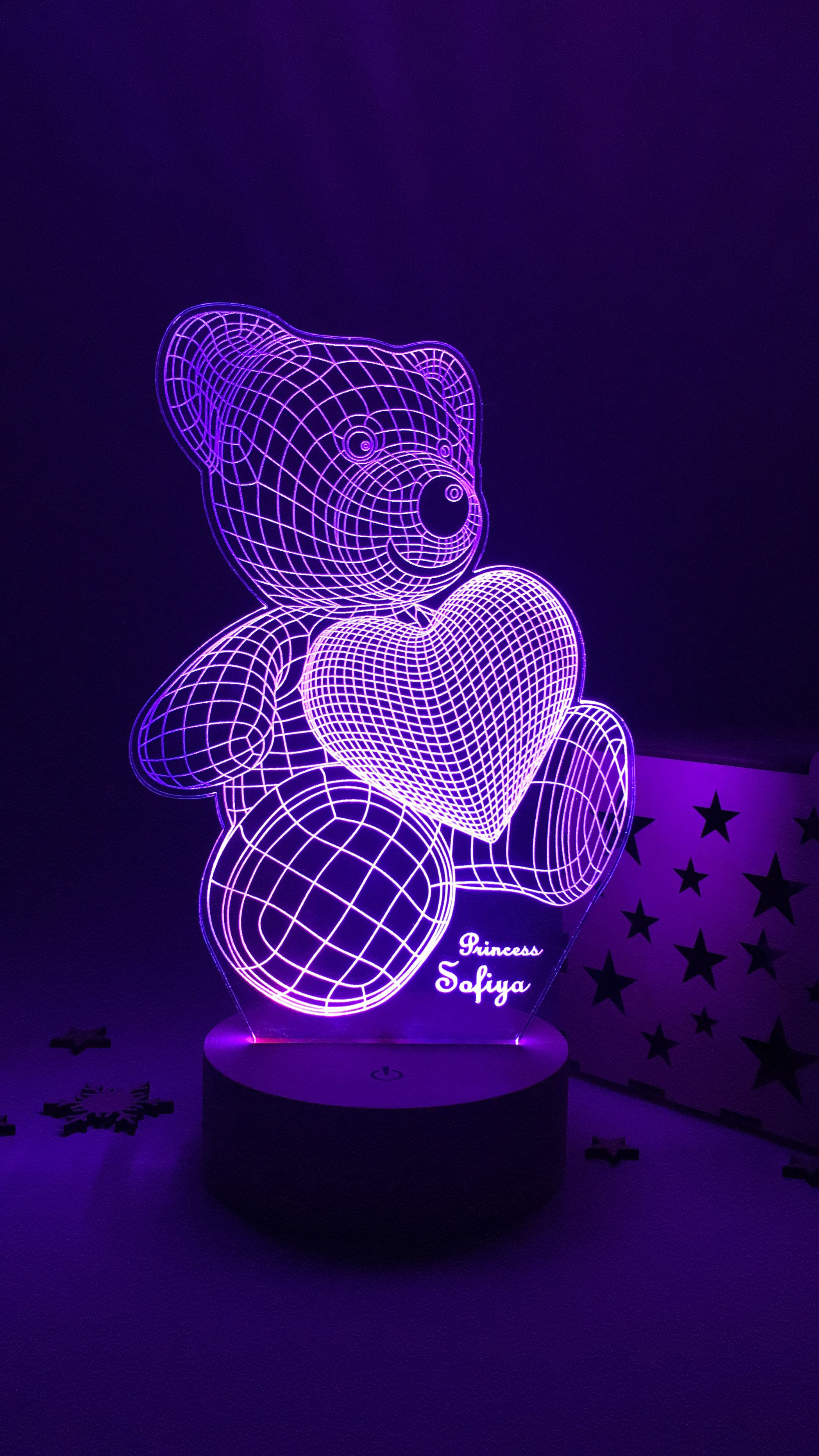Cute Bear 3d Effect Led Lamp With Personal Text Bedroom Table Etsy Lamp Led Beautiful Lamp