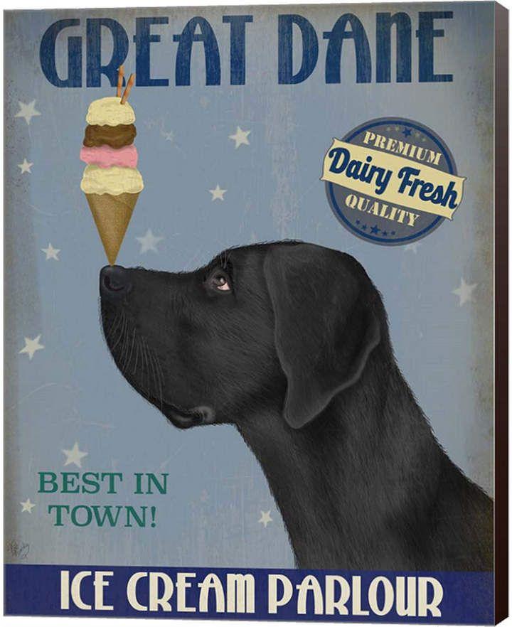 Metaverse Great Dane Black Ice Cream By Fab Funky Canvas Art