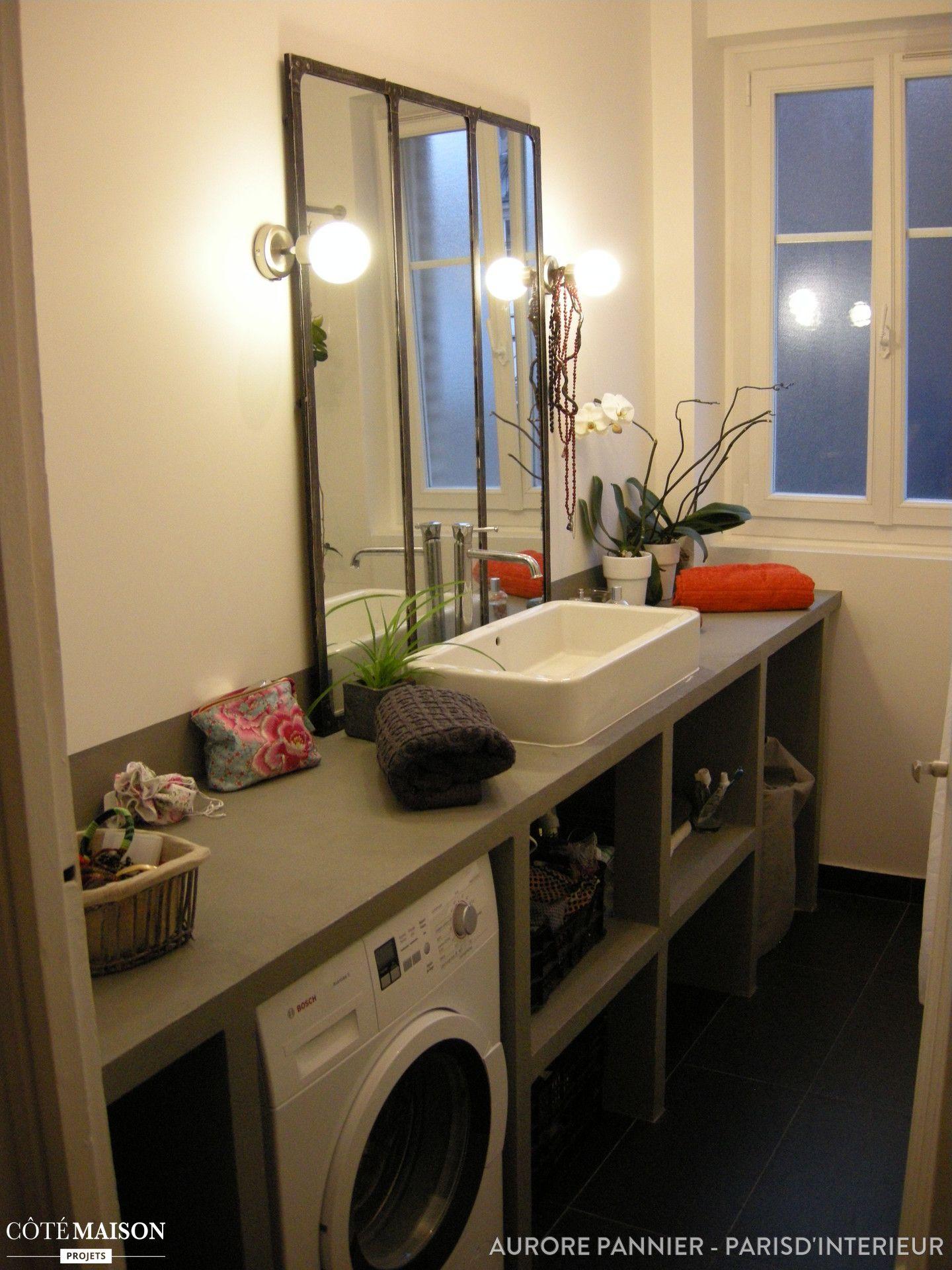 salle de bains industrielle aurore pannier c t maison petits espaces pinterest salle. Black Bedroom Furniture Sets. Home Design Ideas