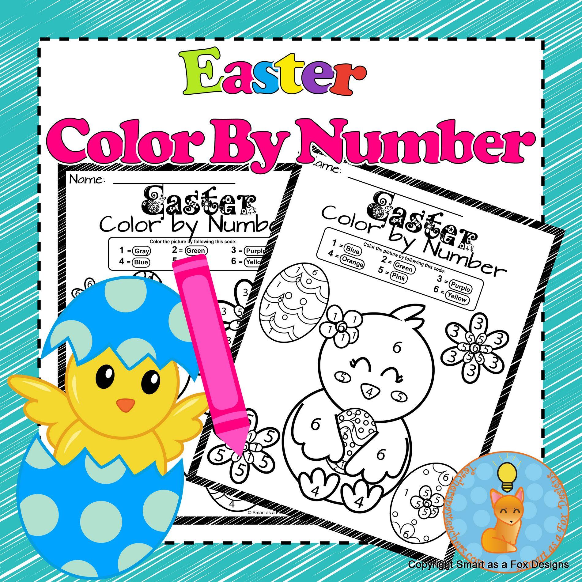 Color By Number Easter Worksheets