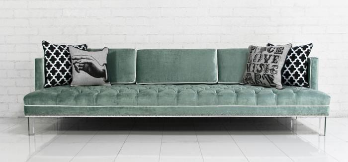 Down With Love Sofa In Tufted Aqua Velvet Modern Sofas
