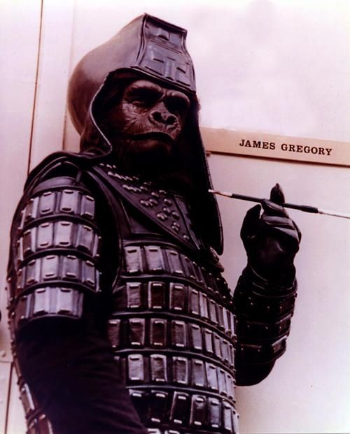"James Gregory as ""Ursus"" outside his dressing room on the 20th Century Fox lot during the production of ""Beneath the Planet of the Apes"" 1970."" — via William Forsche."