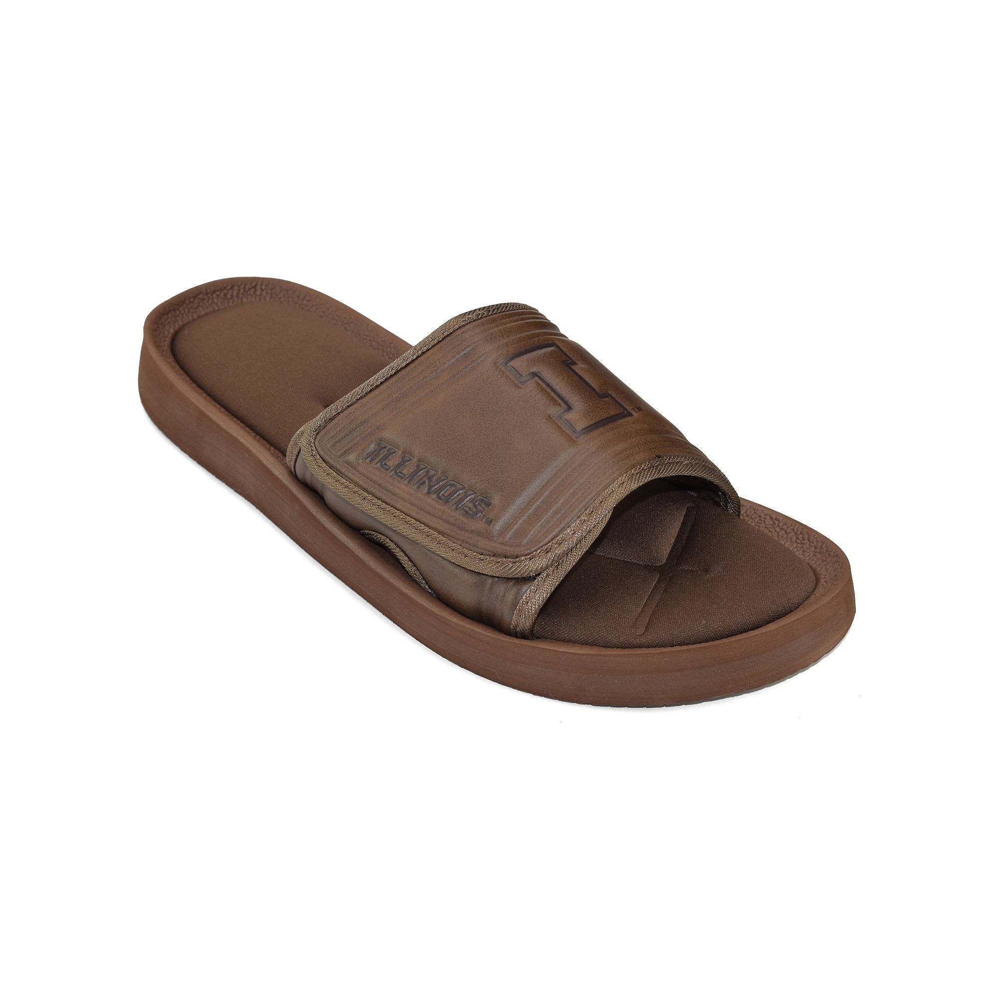 Adult Illinois Fighting Illini Memory Foam Slide Sandals Mens Size Medium Brown