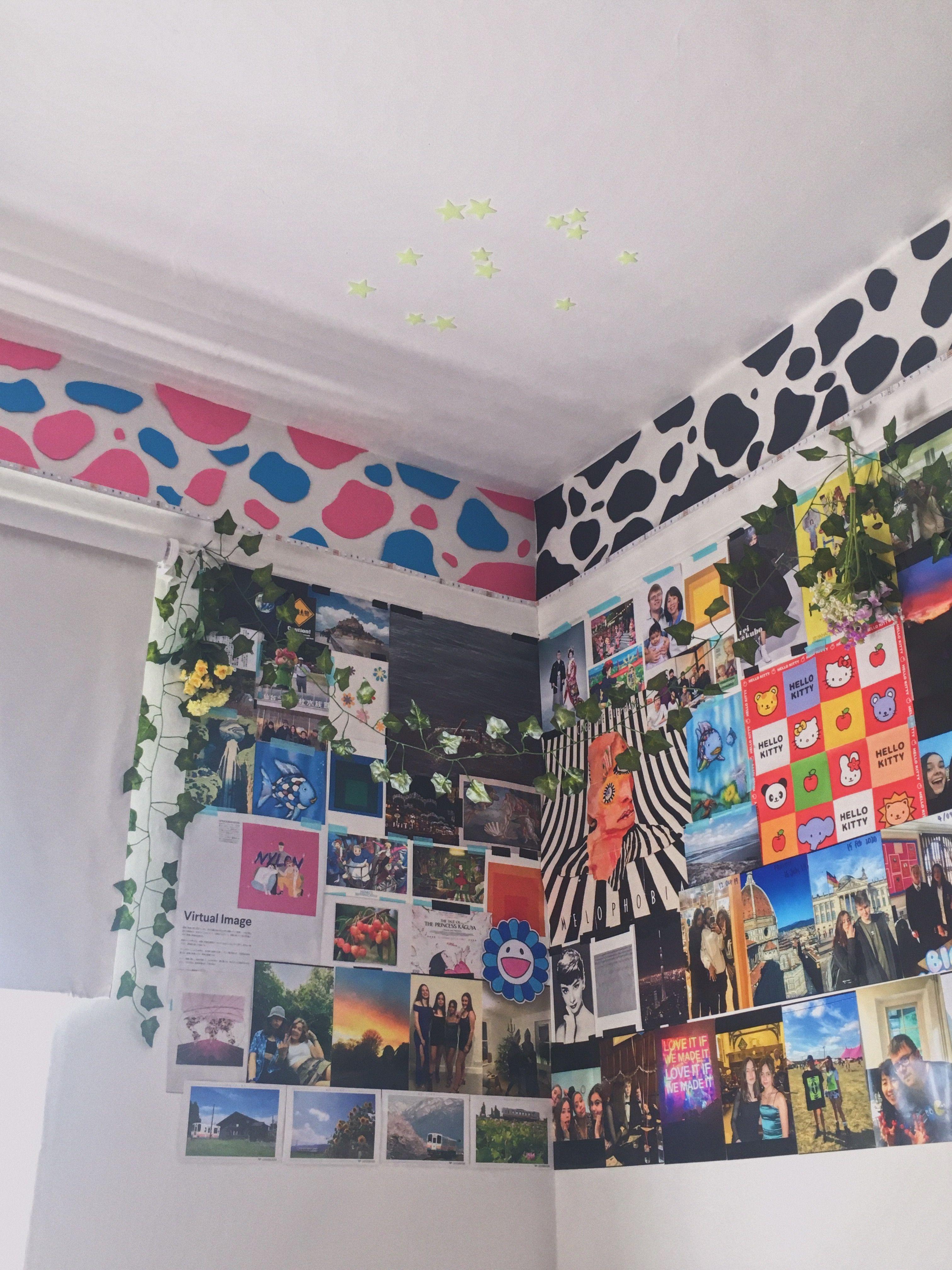 cow print room in 17  Retro room, Indie room, Dreamy room