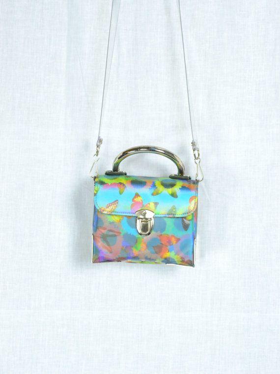 78709de19b 90s club kid Lenticular holographic butterflies sunflowers daisies blue  pink yellow print box trunk mini purse shoulder bag hand bag