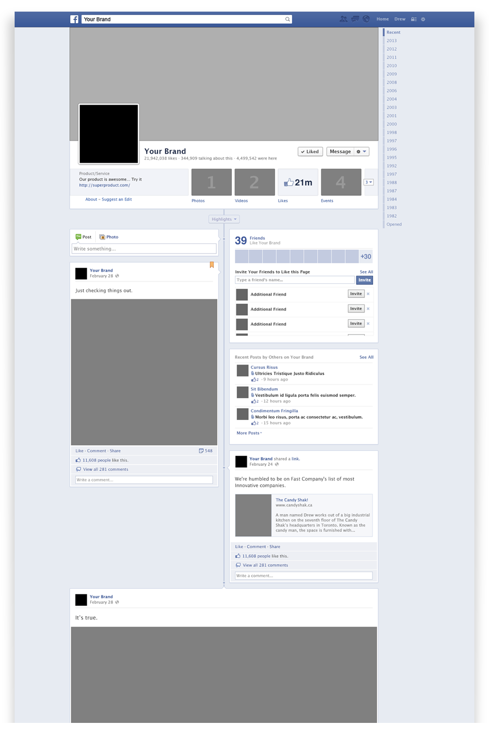 Facebook brand page psd mockup file mockup and template a mockup of a facebook page great for working out how your page will look wajeb Image collections