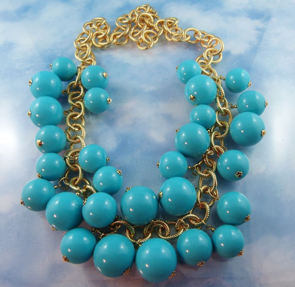 Signed KJL Huge Faux Turquoise Bead & Gold Tone Statement Chunky Necklace