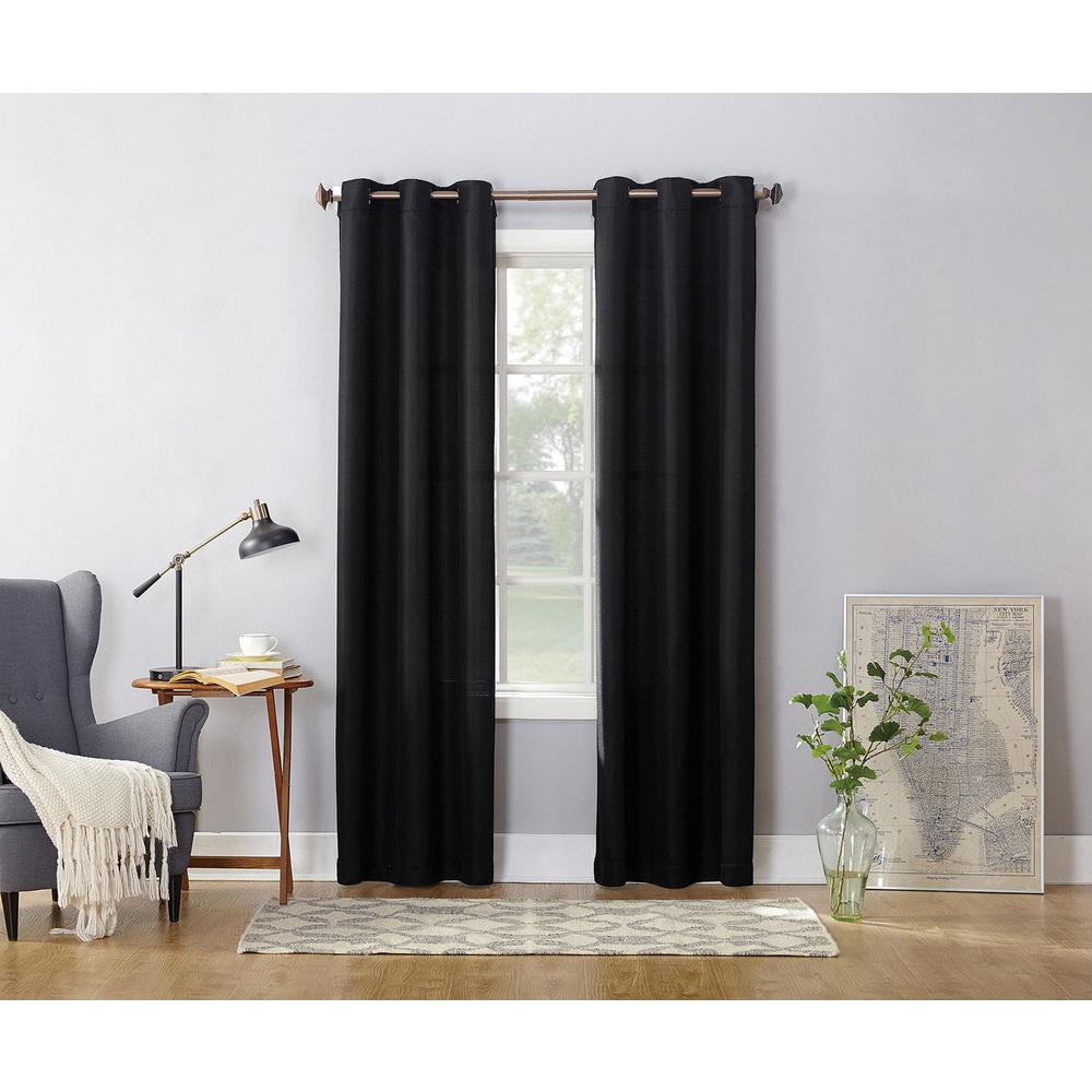 Semi Opaque Black No 918 Casual Montego Woven Grommet Top Curtain
