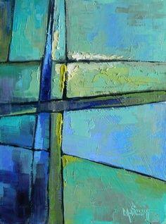 carol schiff artist | ... -representational Blue and Green 6x8, painting by artist Carol Schiff