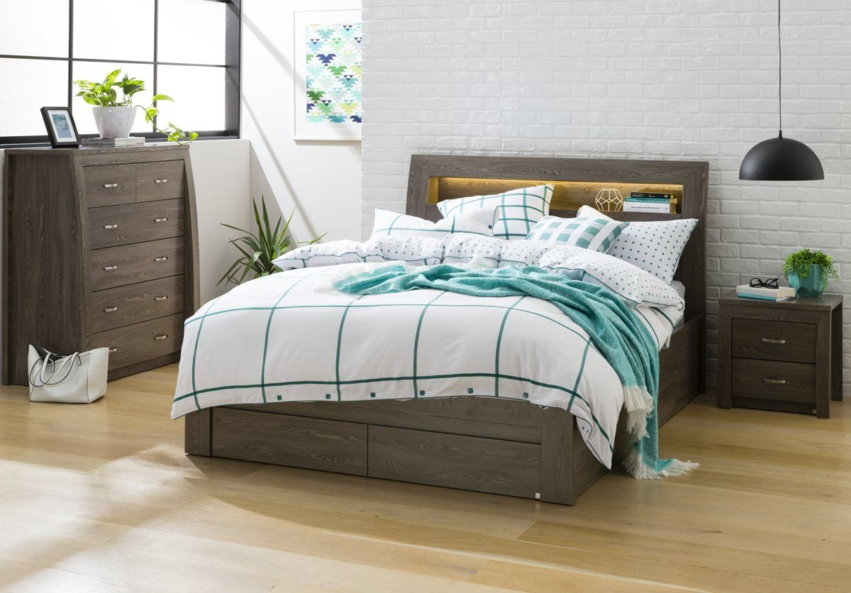 Toulouse Bookend Bed Frame W Gas Lift Storage Ghost Gum Bedroom Furniture Forty Winks Bed Online Mattress Furniture