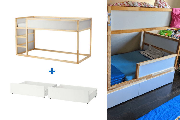Amped up KURA bed with drawers and safety rail – IKEA Hackers