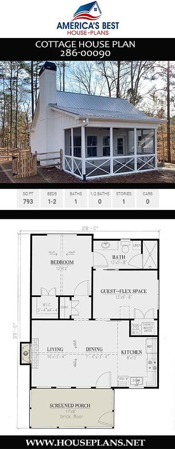 House Plan 286-00090 - Cottage Plan: 793 Square Feet, 1-2 Bedrooms, 1 Bathroom