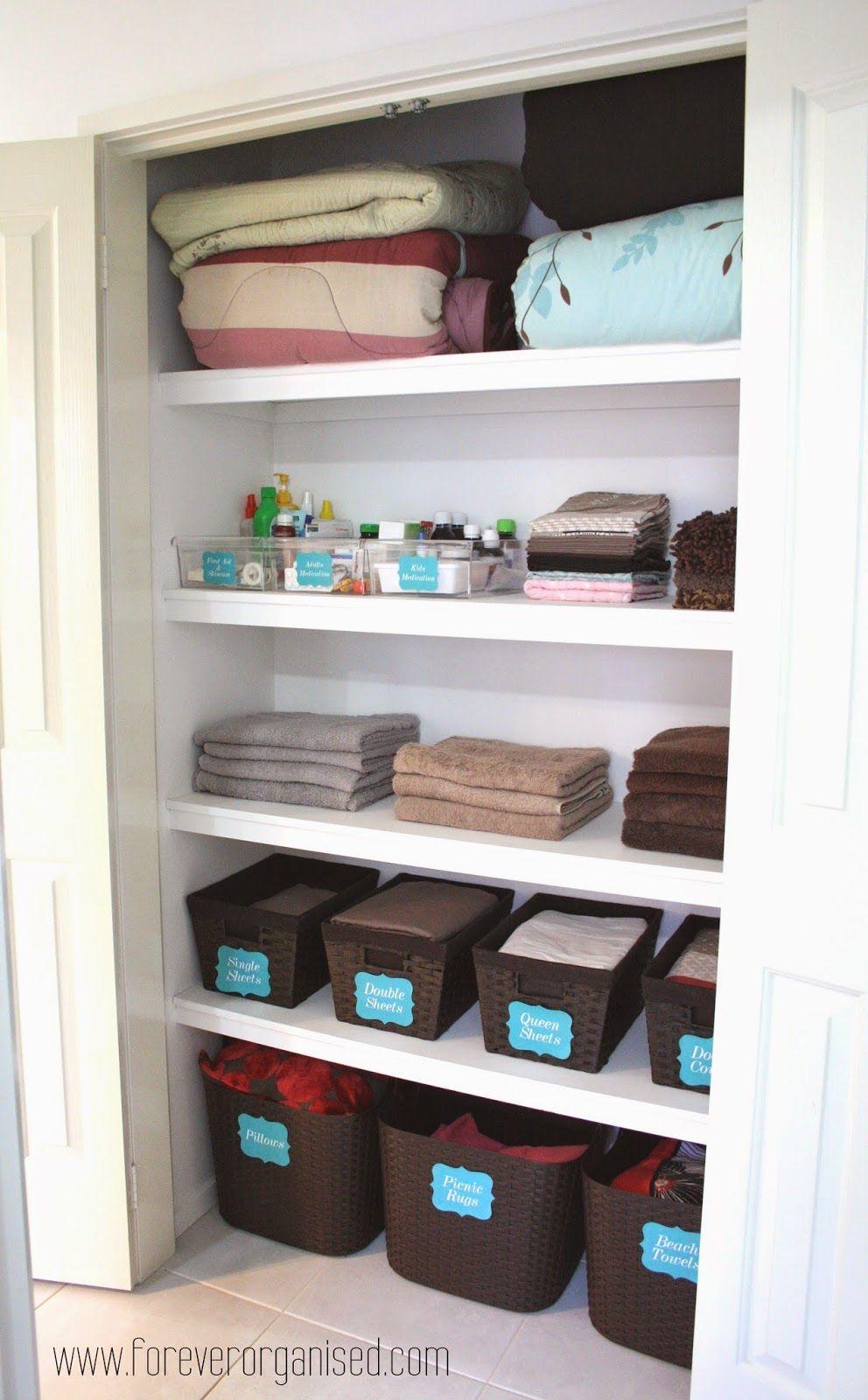 Forever Organised Organised Linen Closet Organizing Linens Linen Closet Organization Linen Closet