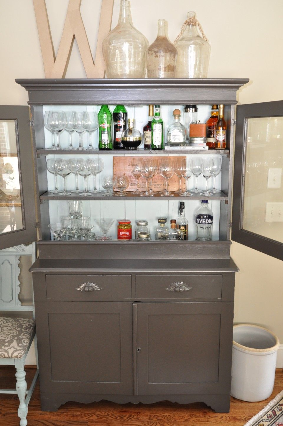 Happy Hour Takes On A Whole New Meaning With Grandmas Repurposed Painted And Stocked Maple Hutch