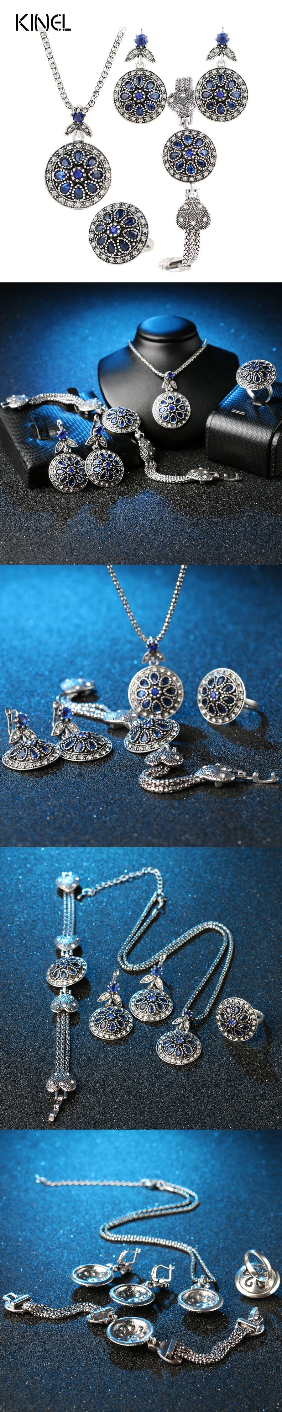 Charm vintage jewelry set round crystal flower earrings bracelets