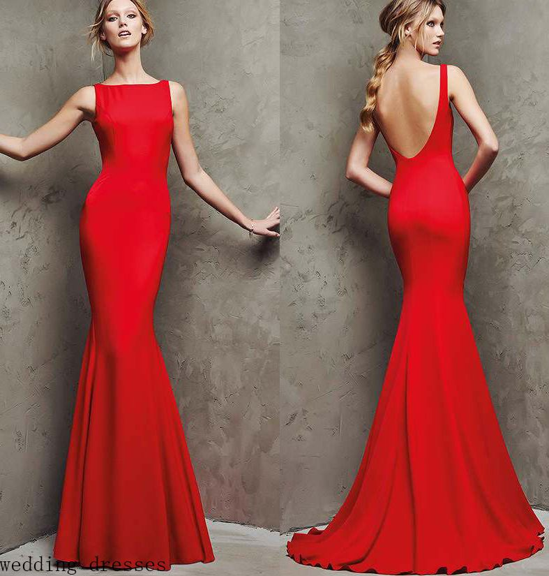 Vintage Women Simple Chiffon Backless Cheap Mermaid: Prom Dresses Red Chiffon Party Dresses Prom Gown Fashion