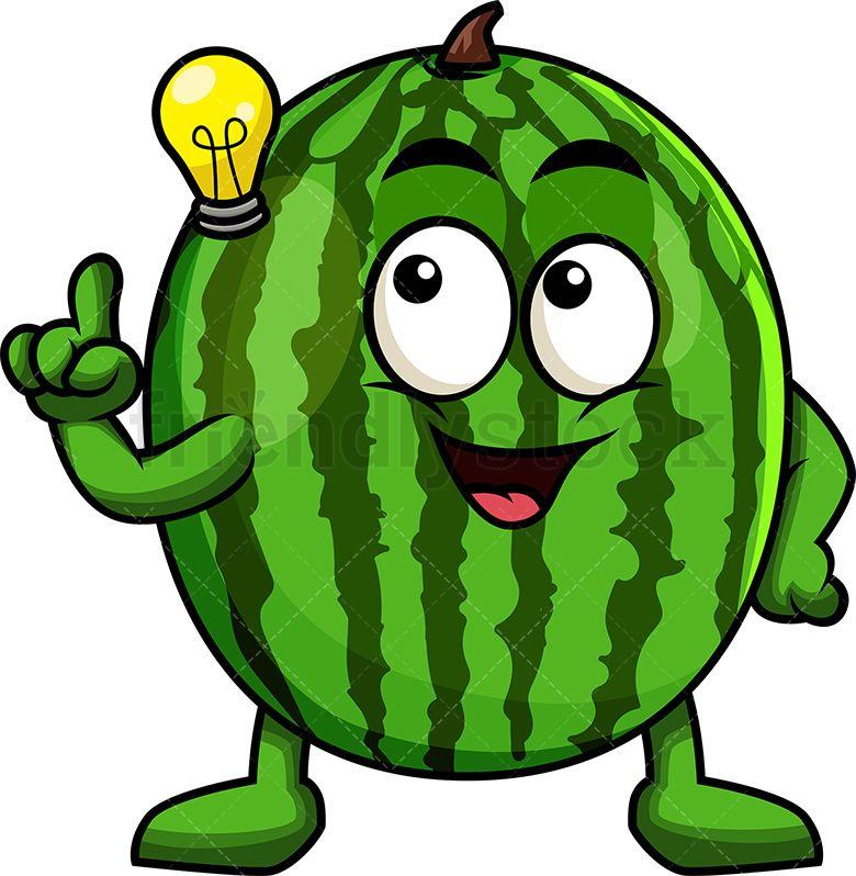 Watermelon Mascot Having An Idea Cartoon Vector Clipart Friendlystock Watermelon Cartoon Cartoons Vector Cartoon Pics