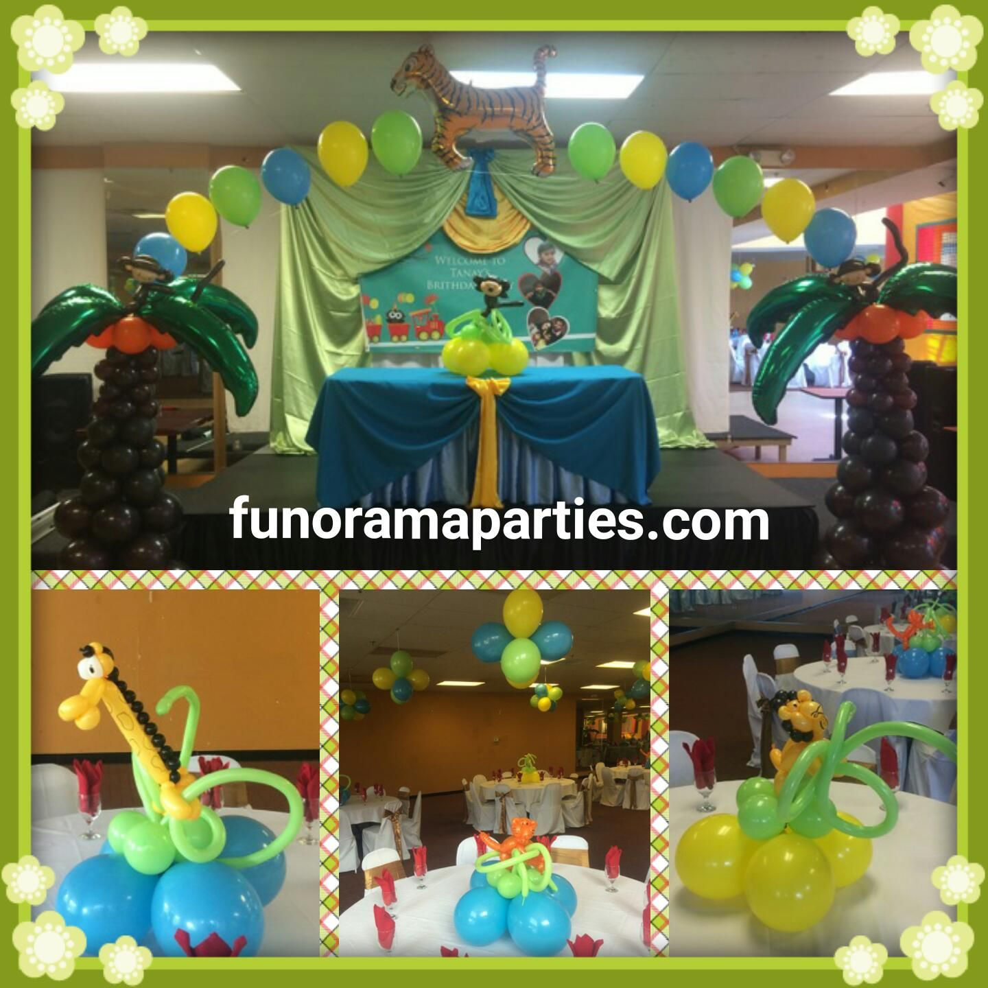 Animal Jungle theme Stage Decorations Balloon Centerpieces Fabric