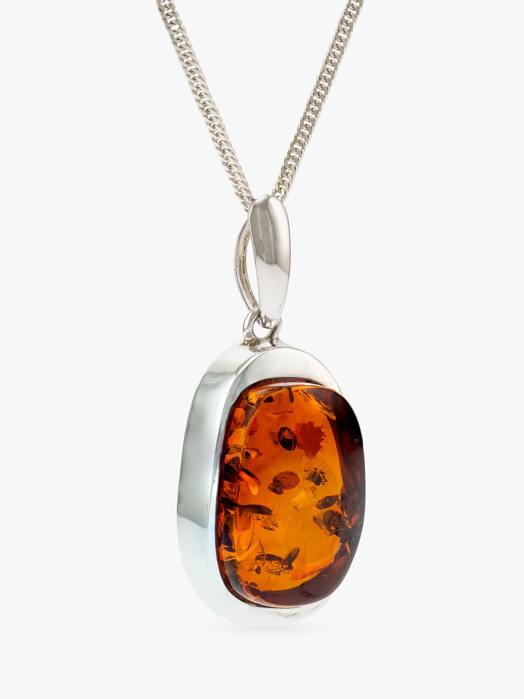 Honey Amber Gold Plated Sterling Silver High Quality Drop Pendant Rolo Chain 18