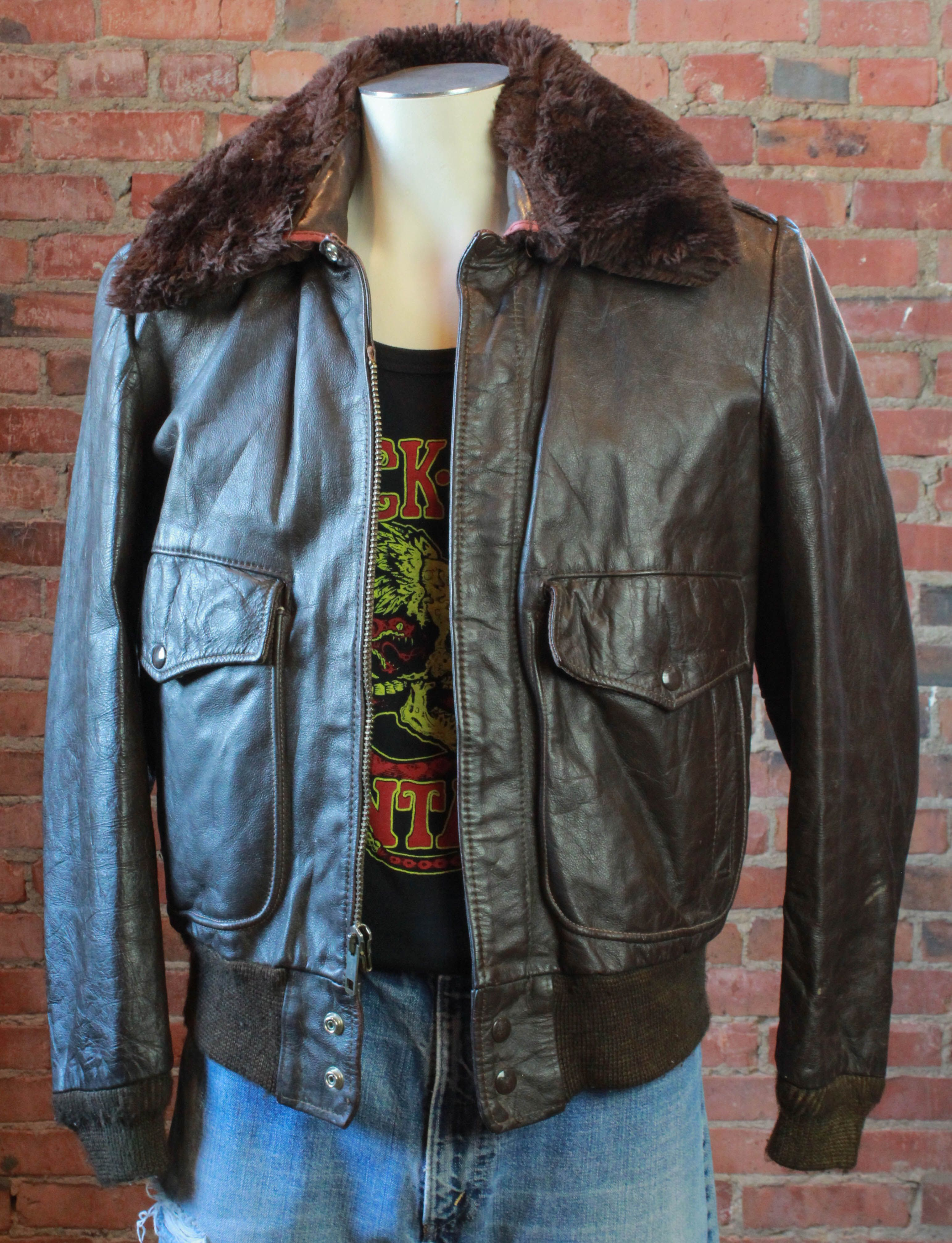 Men S Vintage Excelled Brown Leather Bomber Aviator Flight Jacket Size 40 Medium Brown Leather Bomber Jacket Denim Coat Women Leather Bomber Jacket [ 4027 x 3085 Pixel ]
