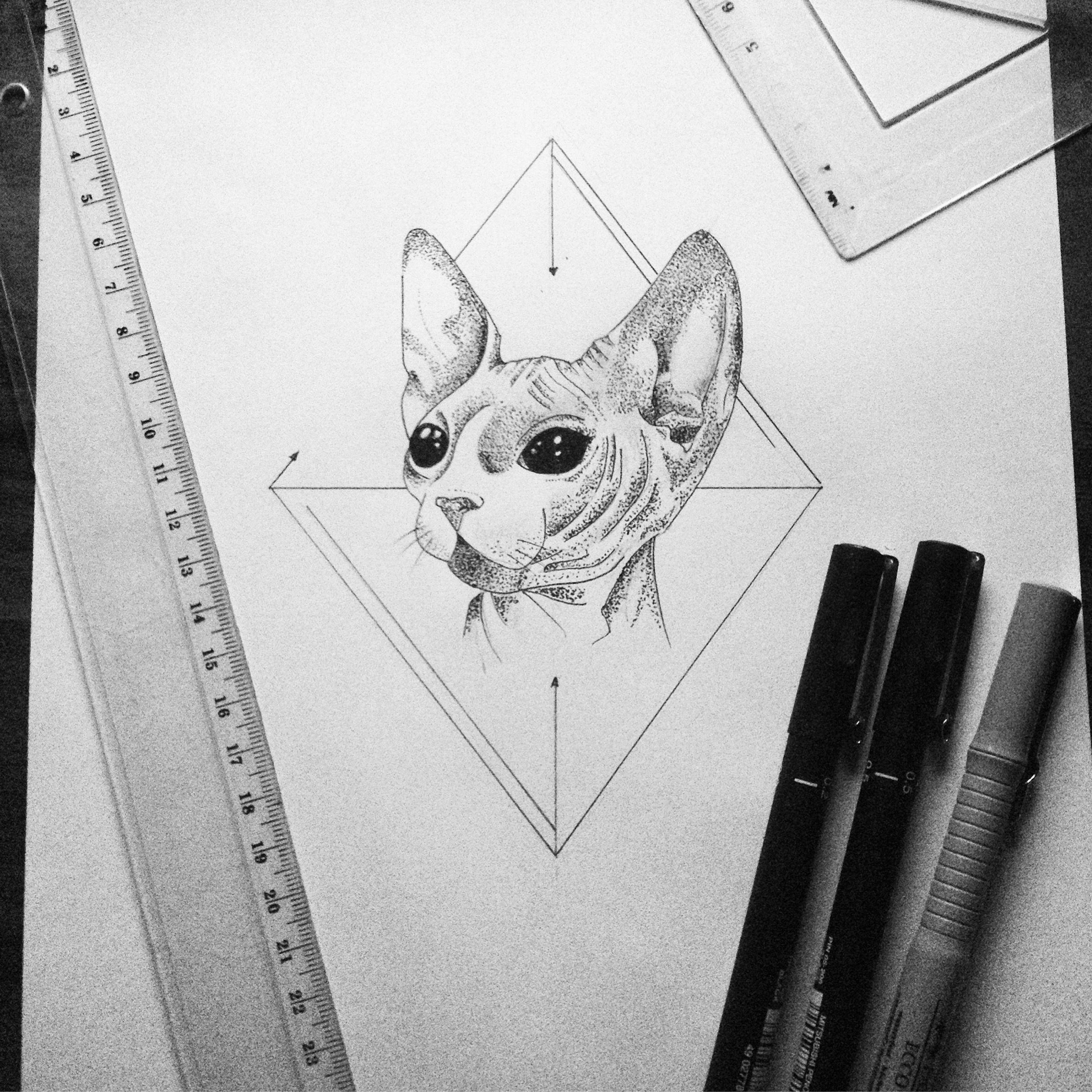 Alien cat #art #illustration #geometric #cat #ink #tattoo | My art ...
