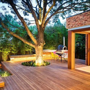 Red Brick Patio With Fire Pit
