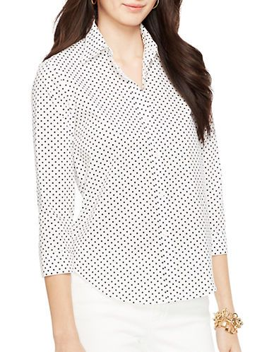 3af1c1534 Lauren Ralph Lauren Petite Polka-Dot Dress Shirt Women s White Black ...