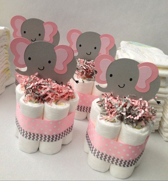 FOUR Pink Grey Elephant Mini Diaper Cakes, Baby Shower Centerpiece, Baby  Girl Baby Shower