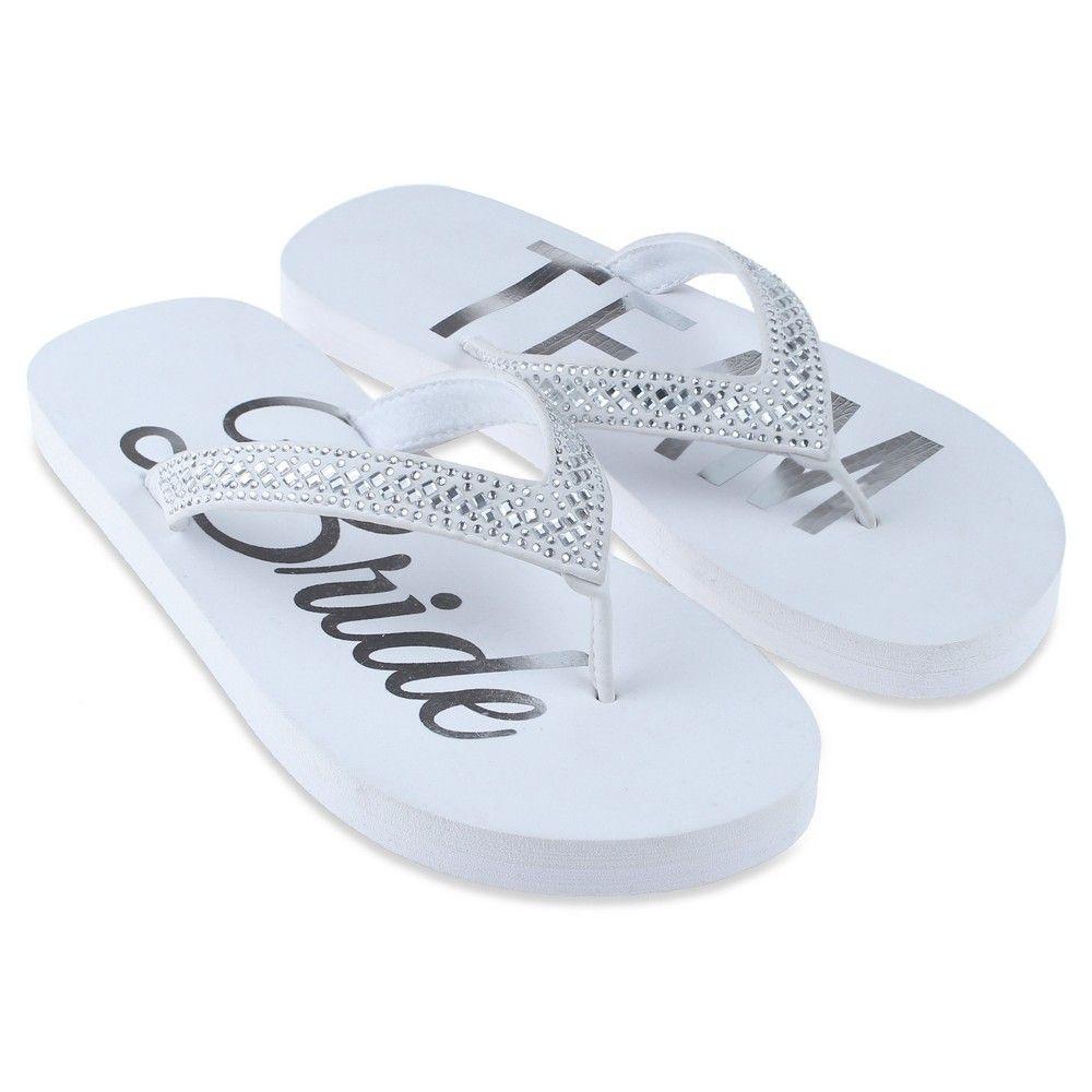 12f95e222542 Women s Capelli Team Bride Embellished Flip Flop Sandals - White 11 ...