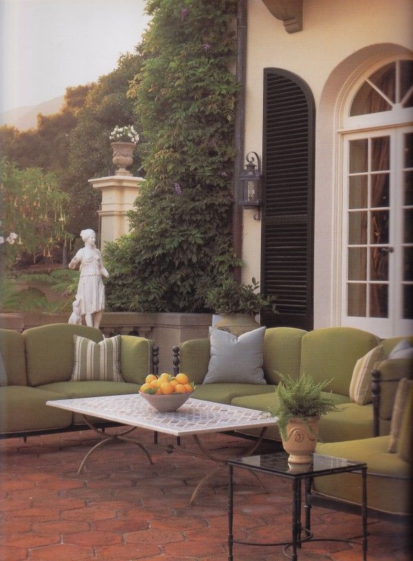 Michael S Smith Placed Italian Inspired Iron Garden Furniture By Taylor On The Terrace Of A Mediterranean Style Villa In Montecito