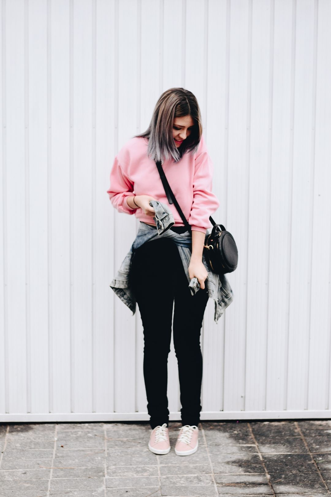 Pink dress with jean jacket  Pink  Tatuajes de rosario  Pinterest  Skinny Winter and Clothing