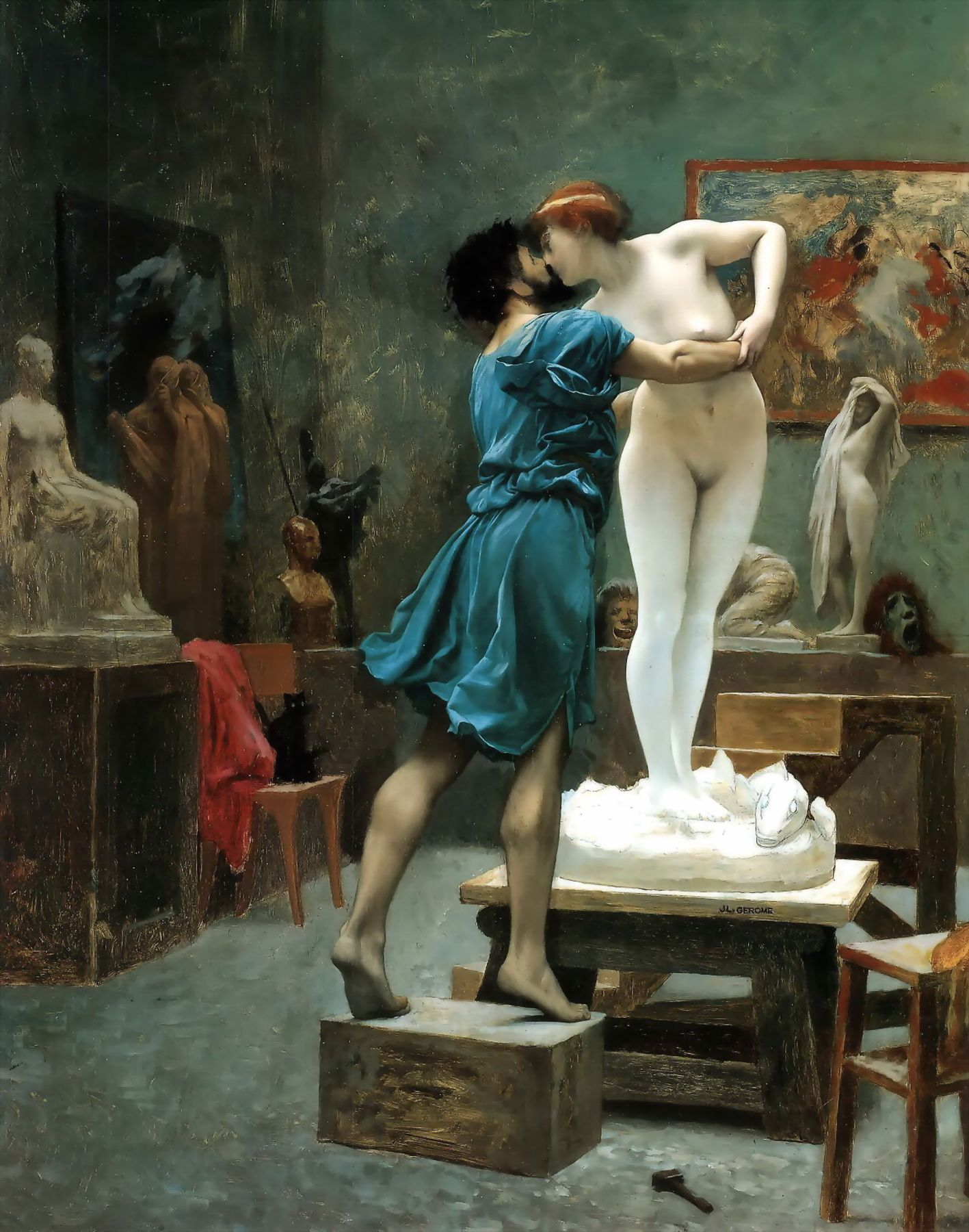 jean l eacute on g eacute r ocirc me pyg on and galatea version ii large hand painted reproduction of pyg on and galatea study 1890 painting this masterpiece was painted originally by jean leon gerome