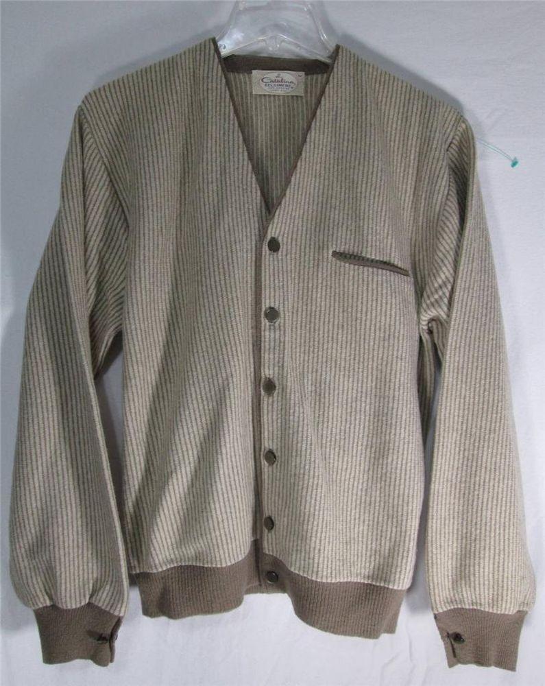 Vintage 50 S Catalina Belgimere Cardigan Sweater Lambs Wool Tan Striped Men S M Catalina Mens Vintage Shirts Mens Jackets Outerwear Coats Jackets [ 1000 x 795 Pixel ]
