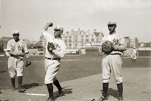 WARMING UP: NY Highlanders at Hilltop Park. The uniforms - made of wool - show the NY logo, which would become famous.