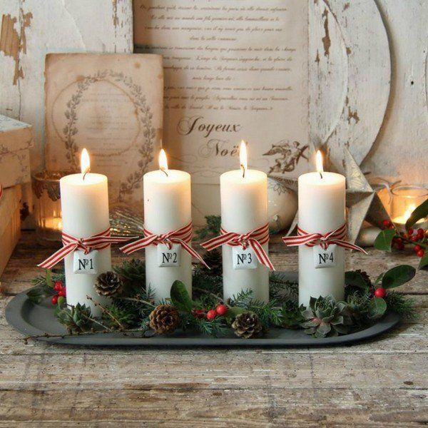 advent light ideas advent candles white pillar candles pine cones tray rustic decor #adventkransen