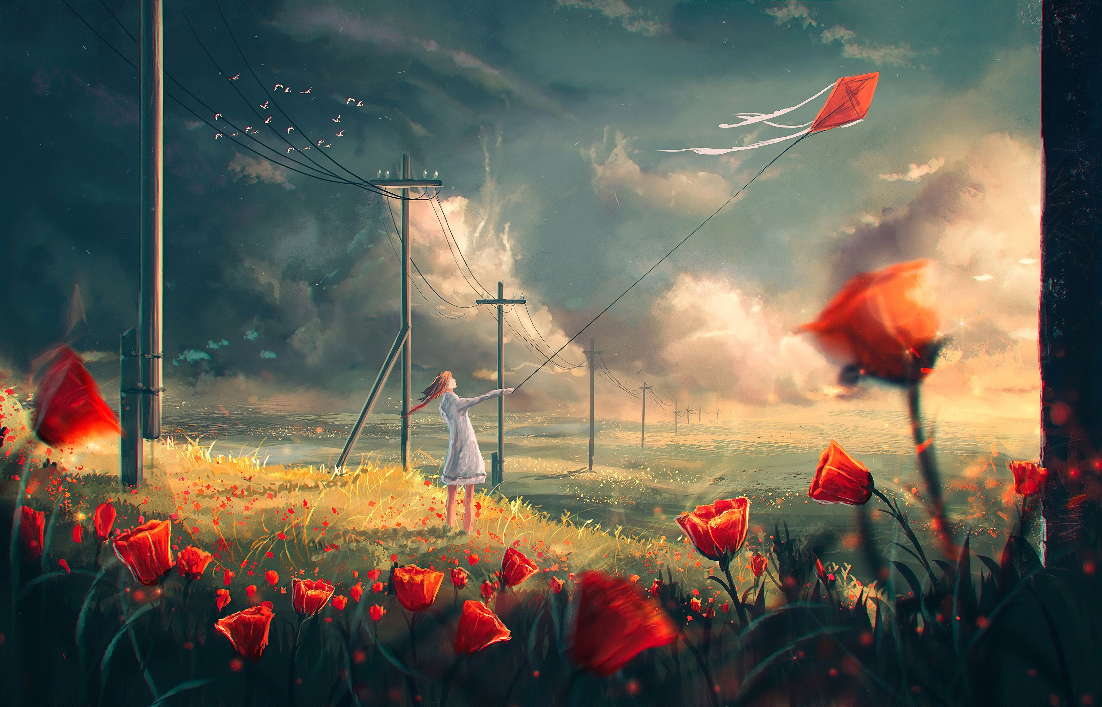 Pin On Anime Wallpapers 4k Red flower field anime holding kite