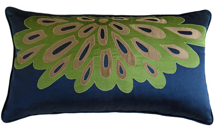 peacock accent pillow - green, blue and tan