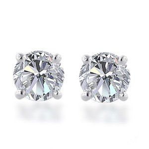 10k Gold Round Diamond Stud Earrings Diamond Studs Diamond Earrings Studs Gold Diamond Studs