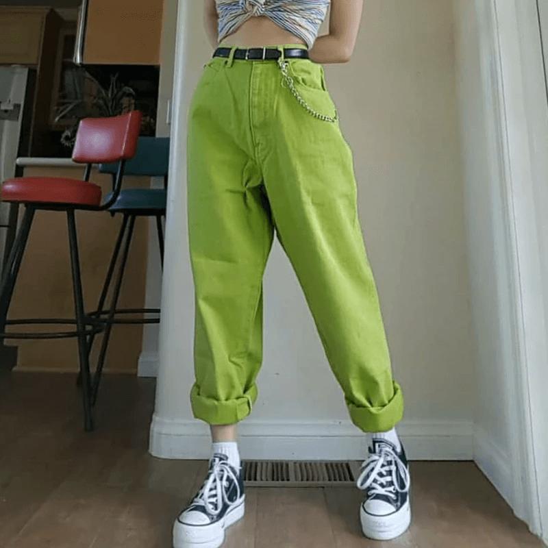 90s Aesthetic Vintage Solid Green Pants In 2020 Women Pants Casual Aesthetic Clothes Clothes