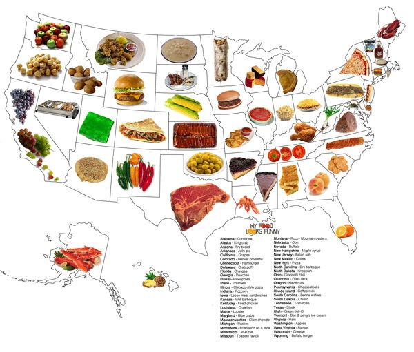 Food Map of the United States   Food map, State foods, Us map